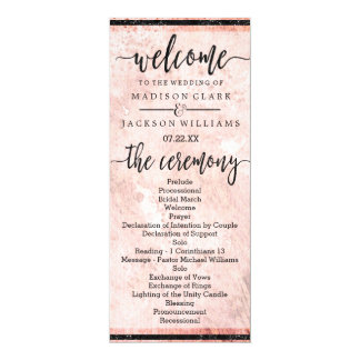 Chic Peach Marble Watercolor Wedding Program