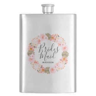 Chic Peach Mint Modern Floral Wreath Bridesmaid Flask