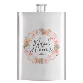 Chic Peach Mint Modern Floral Wreath Maid of Honor Flask