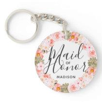 Chic Peach Mint Modern Floral Wreath Maid of Honor Keychain