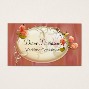 Professional Business Chic Peach Satin Look Floral Business Card