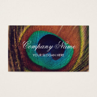 Chic peacock feather photo business card template