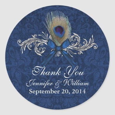 Chic Peacock Feather Wedding Favor Sticker