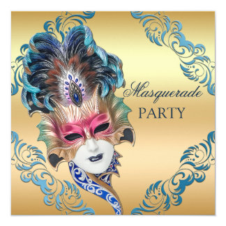 Chic Peacock Feathers Mask Masquerade Party Card