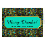 Chic Peacock Feathers Personalized Thank You Card