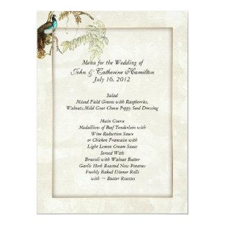 Chic Peacock Wedding Menus 6.5x8.75 Paper Invitation Card