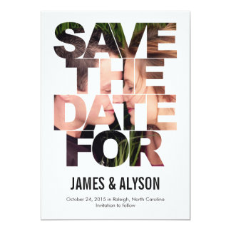 "Chic Peek Save The Date Card 5"" X 7"" Invitation Card"