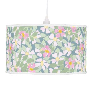 Chic Pendant Lampshade: Pink Dogroses on Deep Blue Hanging Lamp