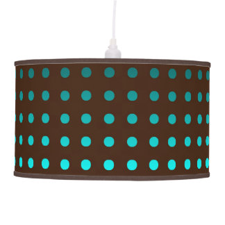 Chic Pendant Light w/Turquoise Dots on Brown Shade Pendant Lamp