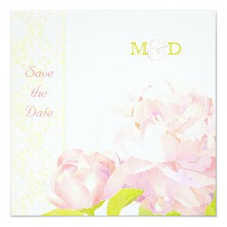 Chic Peony Flowers Monogram Wedding Save the Date Card