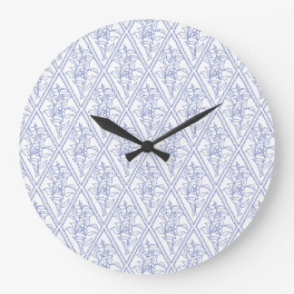 Chic Periwinkle Blue Floral Diamond Pattern Large Clock