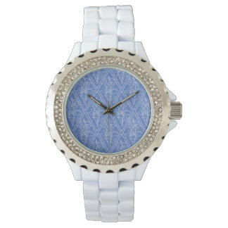 Chic Periwinkle Blue Floral Diamond Pattern Watches
