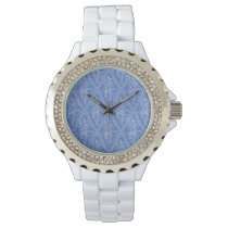 Chic Periwinkle Blue Floral Diamond Pattern Wrist Watch