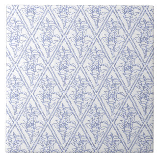 Chic Periwinkle Blue White Floral Diamond Pattern Ceramic Tile