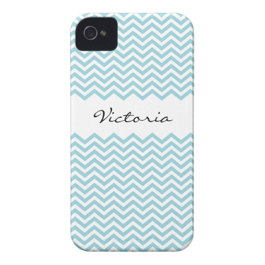 Chic personalized aqua chevron pattern iPhone case