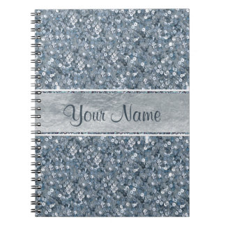 Chic Personalized Faux Blue Sequins Silver Foil Notebook