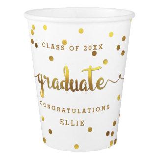 Chic Personalized Faux Gold Foil Confetti Graduate Paper Cup