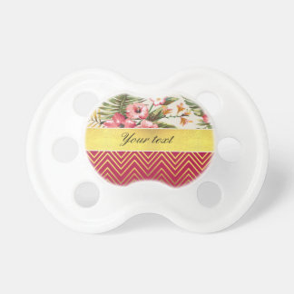 Chic Personalized Hibiscus and Chevrons Pacifier