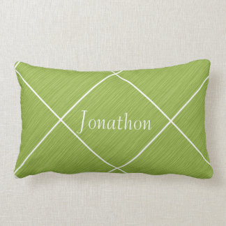 Chic Personalized Pillow Green Grass & White Tiles