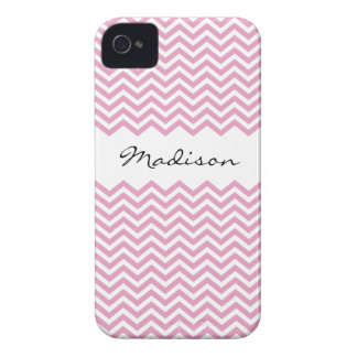 Chic personalized pink chevron pattern BlackBerry iPhone 4 Case-Mate Case