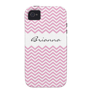 Chic personalized pink chevron pattern iPhone case iPhone 4 Case