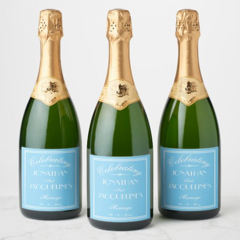 Chic Personalized Wedding Champagne Bottle Labels