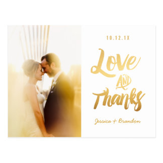 Chic Photo Gold Wedding Thank You Postcards