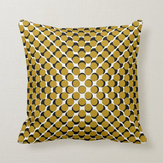 CHIC PILLOW_190 MUSTARD /BLACK MODERN DOT PATTERN THROW PILLOW