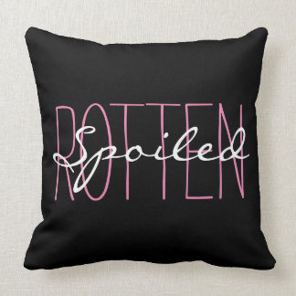 "CHIC PILLOW_GIRLY""SPOILED ROTTEN"" PINK/BLACK/WHITE THROW PILLOW"