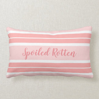 "CHIC PILLOW_GIRLY ""SPOILED ROTTEN"" SALMON STRIPES LUMBAR PILLOW"
