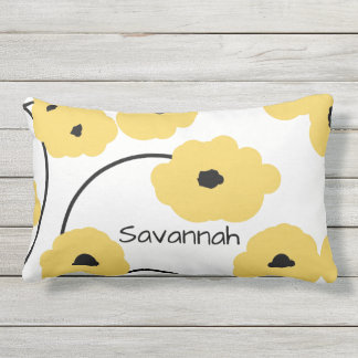 CHIC PILLOW_MOD YELLOW & BLACK POPPIES OUTDOOR PILLOW