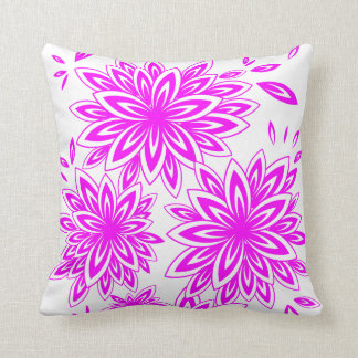 CHIC PILLOW_MODERN MAGENTA/WHITE FLORAL THROW PILLOW