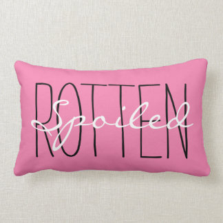 "CHIC PILLOW_""SPOILED ROTTEN"" PINK/BLACK/WHITE LUMBAR PILLOW"