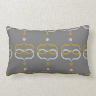 CHIC PILLOW_YELLOW/GRAY GEOMETRIC ON GRAY LUMBAR PILLOW