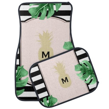 Hawaiian Themed Chic Pineapple & Tropical Leaves Monogrammed Car Floor Mat