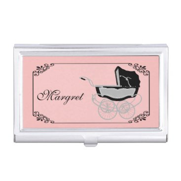 Professional Business Chic Pink and Black Baby Pram Business Card Holder