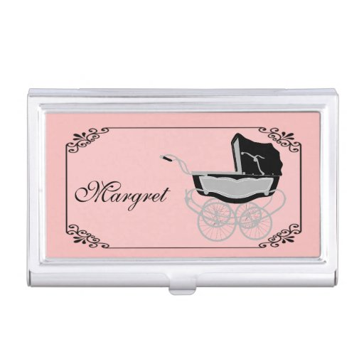 Chic pink and black baby pram business card holder zazzle for Chic business card holder