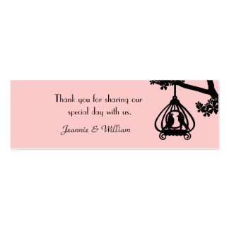 Chic Pink and Black Love Birds Gift Tags Business Card Template