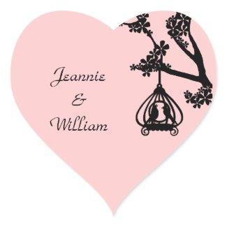 Chic Pink and Black Love Birds Heart Sticker sticker