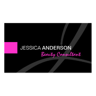 Chic Pink and Black Monogram Elegant Double-Sided Standard Business Cards (Pack Of 100)