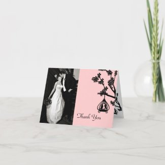 Chic Pink and Black Wedding Photo Thank You Card card