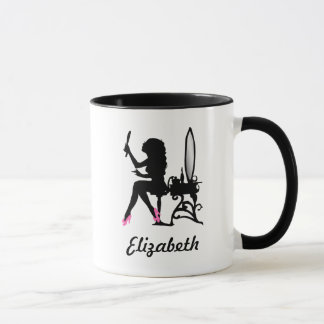 Chic Pink and Black Woman of Fashion Silhouette Mug