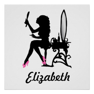 Chic Pink and Black Woman of Fashion Silhouette Poster