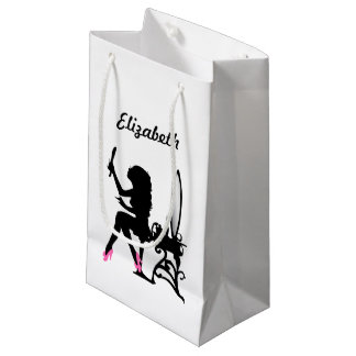 Chic Pink and Black Woman of Fashion Silhouette Small Gift Bag