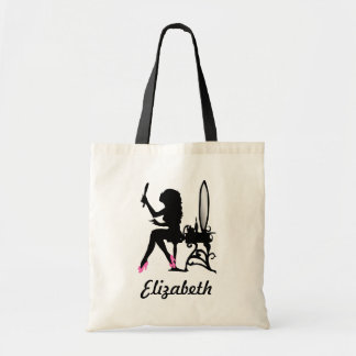 Chic Pink and Black Woman of Fashion Silhouette Tote Bag