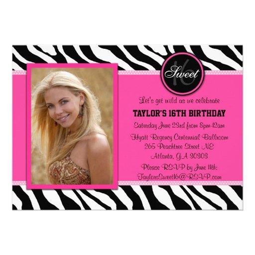 Chic Pink and Black Zebra Print Photo Invite