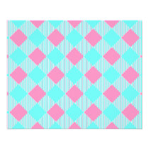Chic Pink And Blue Trendy Check Pattern Flyer