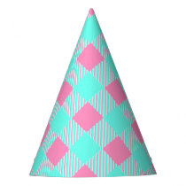 Chic Pink And Blue Trendy Check Pattern Party Hat