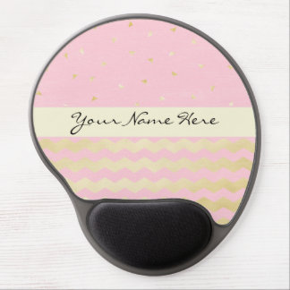 Chic Pink and Gold Triangle Confetti and Chevrons Gel Mouse Pad
