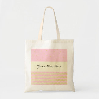 Chic Pink and Gold Triangle Confetti and Chevrons Tote Bag
